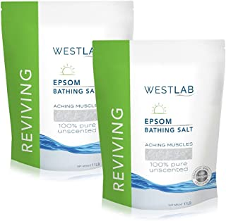 Westlab Reviving Pure Unscented Epsom Salt (2x11lb Resealable Bag 22lb) Natural USP Grade Magnesium Sulfate. Soothes Aching Muscles. Use after Sports and Post-Workout. Foot Soaking & Relaxation