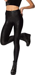 Women Faux Leather Pants Shiny Mermaid Fish Scales Printed Leggings