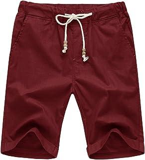 NITAGUT Men's Linen Casual Classic Fit Short Drawstring Summer Beach Shorts