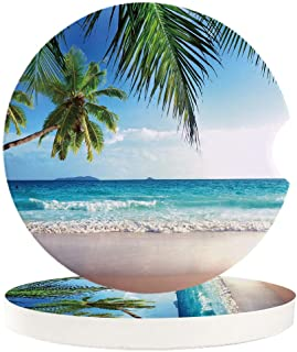 Auto Getränke Untersetzer Set, Palmen, Ozean, Tropisches Meer, saugfähig, Keramik Stein Motiv, Untersetzer mit einer Fingeraussparung für einfaches Entfernen aus dem Auto Getränkehalter blau
