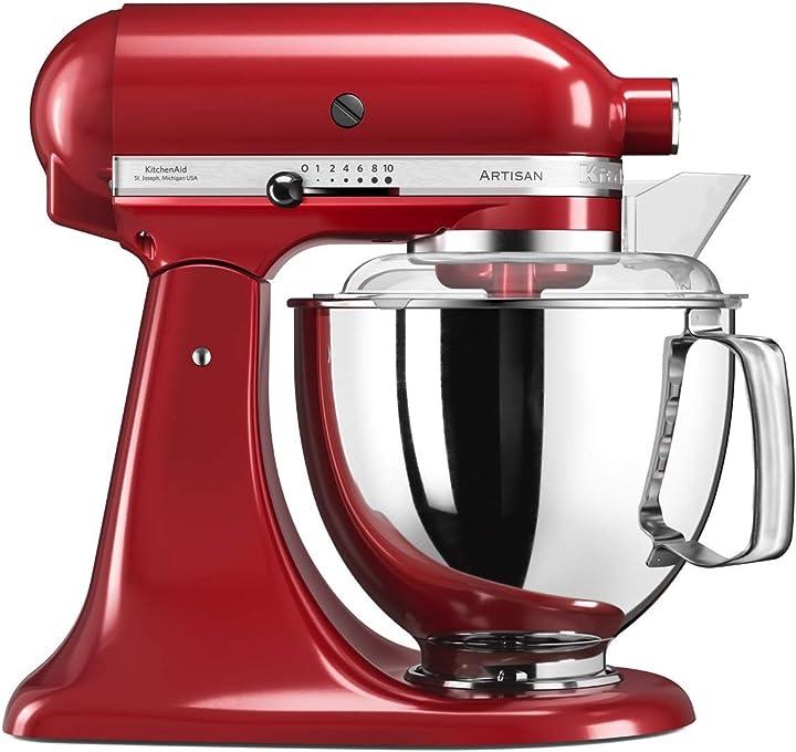 """Robot da cucina """"artisan"""", rosso imperiale, in metallo, 4,8 l, 36 x 24 x 37 cm kitchenaid 5ksm175 5KSM175PSEER"""