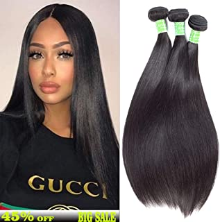 Brazilian Straight Human Hair 3 Bundles 12 14 16 Inch 8A Virgin Unprocessed Straight Hair Weave Double Weft Silky Remy Human Hair Natural Color 300g