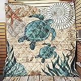 Meiju Tagesdecke Bettüberwurf mit Retro Blauer Tierdruck, Schlafzimmer Wohndecke weich & hautfre&lich, Bettdecke aus Mikrofaser, Stepp Decke für Bett (Schildkröte,180 * 200cm)