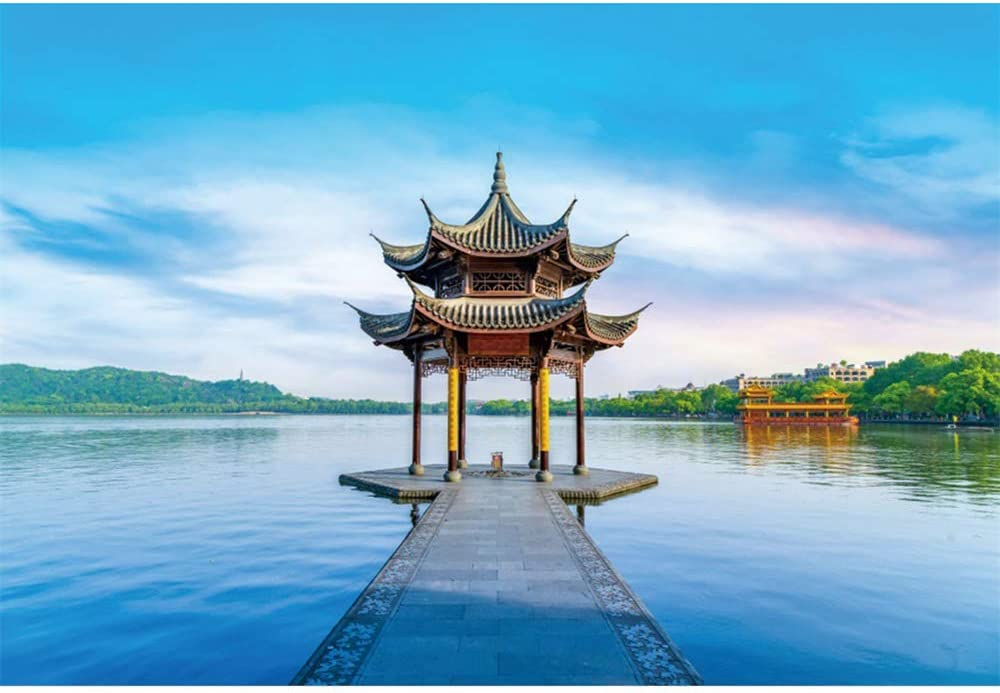 CSFOTO 7x5ft China Hangzhou City West Lake Scenery Backdrop Chinese Style Old Building Natural Scenery Birthday Party Background for Photography Interior Decor Adults Kids Photo Booth