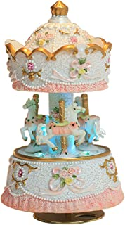 YouTang Clockwork Mechanism 3-Horse Carousel Music Box with LED Lights Melody Always with me from Spirited Away(White)