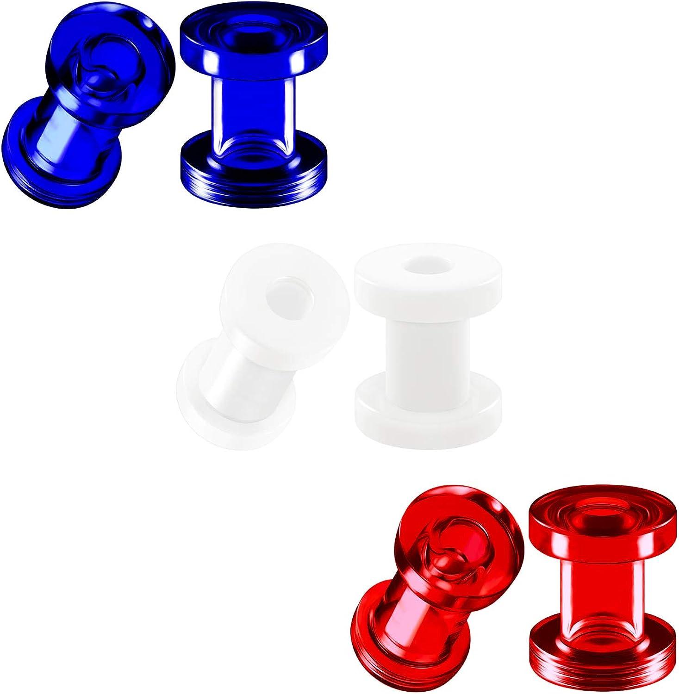 BIG GAUGES 3 Pairs Dark Blue White Red Acrylic Screw-fit Flesh External Tunnel Piercing Jewelry Stretcher Ear Earring Lobe Plugs