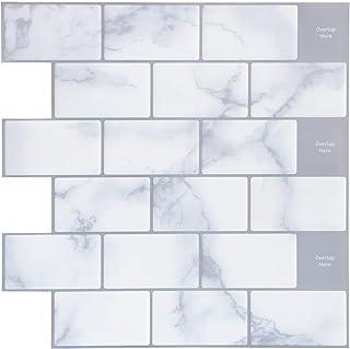 "Joqixon Peel and Stick Tile Backsplash for Kitchen, 3D Brick Subway Wall Tiles Self Adhesive, Vinyl Decorative Tile Sticker, 12""x12"" 4 Sheets"