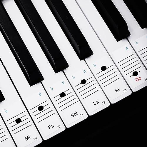 Faburo 2pcs Autocollants amovibles pour notes de piano Stickers transparents pour Clavier de piano 54,61,88 touches e...