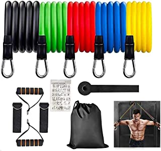 YJClouds Resistance Bands Set,12pcs Exercise Bands with Handles for Home Workout Band,Yoga, Pilates,Resistance Training, Physical Therapys