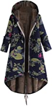 Aniywn Womens Plus Size Zipper Coats Vintage Floral Print Long Sleeve Warm Pockets Hooded Outwear Tops Jacket
