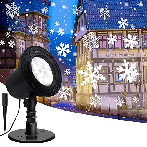 Lightess Luci del Proiettore Natale LED Proiettore Decorativo Effetto Tempesta di Neve Impermeabile IP65 Lampada Proiezione Esterno per Festa, Natale, Halloween, Matrimonio, Giardino (S1)
