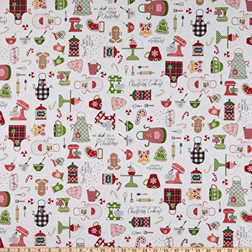 Maywood Studios We Whisk You A Merry Christmas! Christmas Baking Ultra White Quilt Fabric by the Yard (0659278)