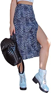 Chollius Women's Clothes Bohemian Floral and Leopard Print A-line Midi High Waisted Side Split Summer Pencil Skirts