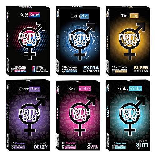 NottyBoy Assortment Value Pack of 60 Condooms | 6 Verschillende Soorten – (Extra Dun, Ribbels, Nopjes, Voorgevormd, Extra Glijmiddel, Vertraging)