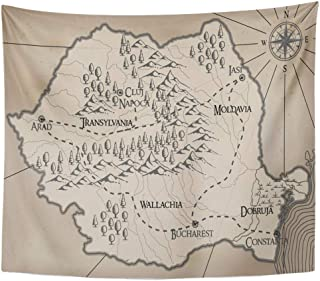 Emvency Decor Wall Tapestry Abstract Old Fantasy Romania Map Ancient Antique Bucharest Cartography Wall Hanging Picnic for Bedroom Living Room Dorm 80x60 Inches