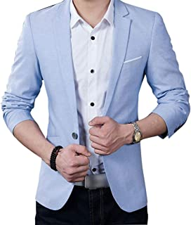 PinShang Men Casual Business Jacket One Button Slim Fit Suit Fashionable Coat Tops sky blue M