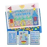 381 puzle de juegos de mosaicos infantiles DIY, Jigsaw Puzzle 3D clavos de seta coloridos con Plug Board de letras, números, juegos de construcción, juguete educativo para niños de 3 a 7 años