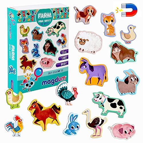 Magneti bambini MAGDUM Animali Fattoria - 15 GRANDI calamite frigorifero - Giochi educativi 1 anno - Giochi bambini 3 anni - Animali fattoria per bambini -Giochi magnetici per bambini-Calamite bambini