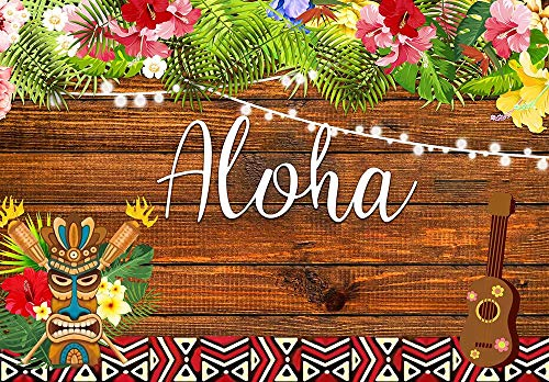 AOSTO 7x5ft Aloha Luau Party Backdrop Tropical Hawaiian Flowers Wooden Sculpture Photography Background Summer Birthday Musical Party Banner Decoration Cake Table Decor W-3379
