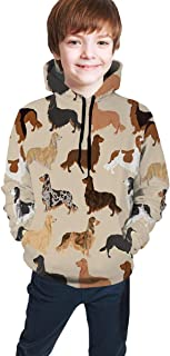 Cyloten Kid's Sweatshirt Cute Dachshunds Dogs Pattern Novelty Hoodies Comfortable Warm Hooded Top Sweatshirt