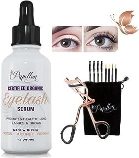 Papillon Organic Eyelash Growth Serum with Castor, Coconut & Avocado Oils + Vitamin E