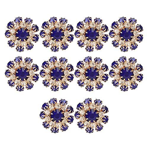 Botón de diamantes de imitación, 10Pcs Botones de diamantes de imitación Accesorio Forma de hongo Adornos de diamantes de imitación Royalblue Hebilla Broche para diadema Vestido Ramo de novia