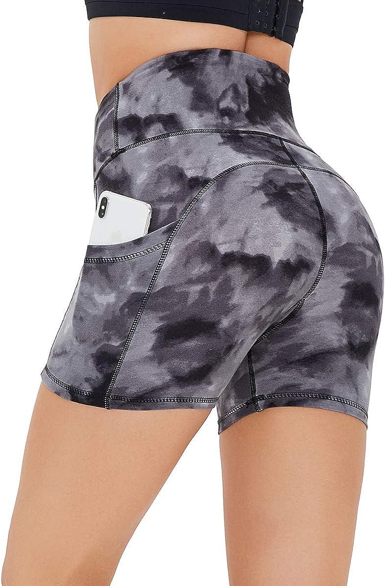 HLTPRO High Waist Kurze Sporthose Damen Shorts mit Seitentaschen f/ür Gym Blickdicht Fitness Running