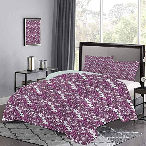 Juego de colcha de con adorno abstracto inspirado en la naturaleza en tonos rosa y morado, funda nórdica hipoalergénica de arte floral, fácil de cuidar y tiene un aspecto limpio y fresco, rosa, violet