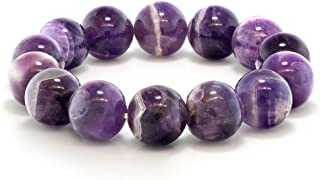 Gem Stone King Purple Amethyst Bead Gemstone Stretchy Bracelet 8.5 Inch Round 16MM