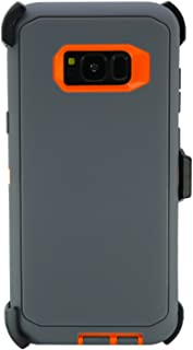 WallSkiN Turtle Series Cases for Samsung Galaxy S8 Plus (Only) Tough Protection with Kickstand & Holster - Charcoal (Grey/Orange)