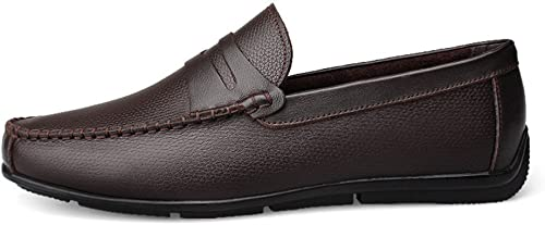 2018 Mocassins Chaussures Homme Hommes Mocassins de Conduite Strap Décor Slip-on Loisirs Penny Mocassins Doux Caoutchouc Semelle Chaussures Homme d'été (Couleur   Marron, Taille   39 EU)