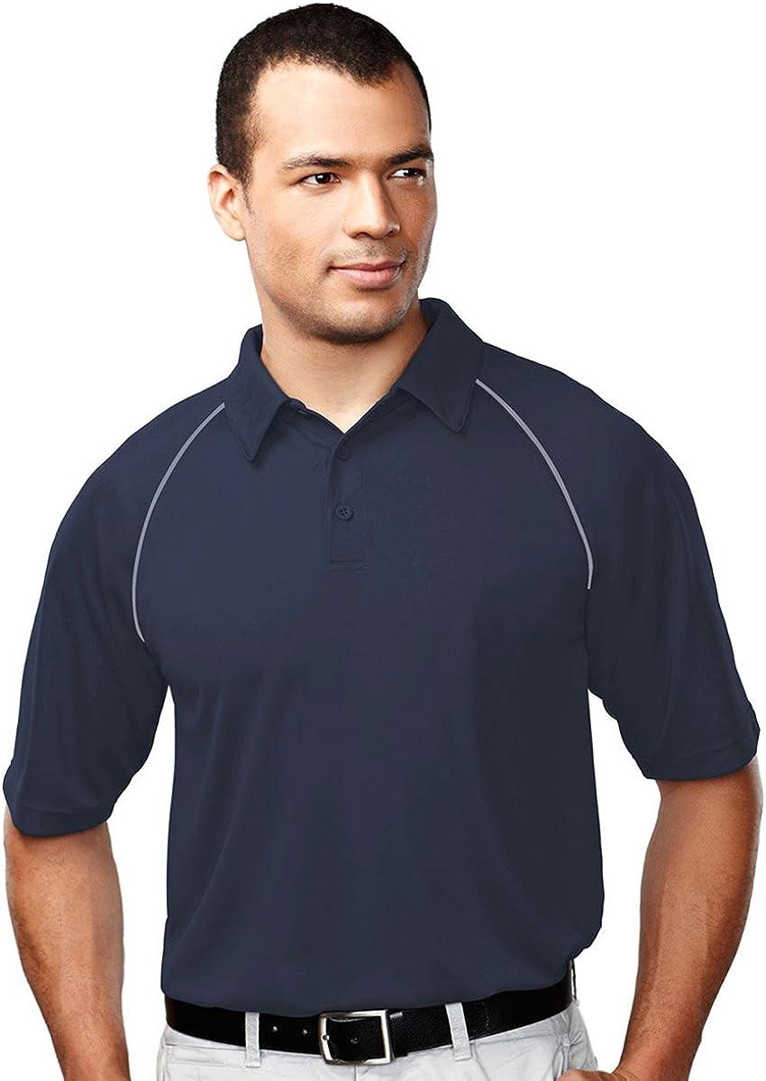 Tri-Mountain Men's 227 Dauntless Polo S/S Polo Shirt (3X-Large, Navy/Gray)