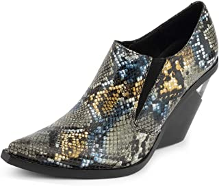 Flux Printed Leather Snake Bootie Grey