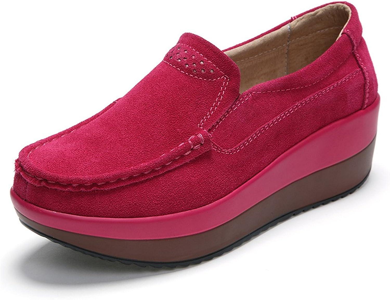 Ruiatoo Women's Suede Loafers Slip on Platform Comfort Driving Low Heel Wedge shoes Red 35
