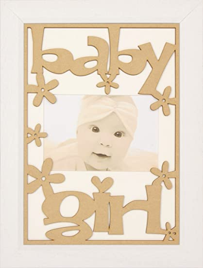 Choose Frame Style and Mount Colour BabyRice New Baby Girl Gift Solid Wood Frame