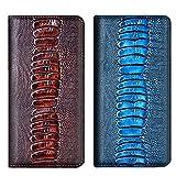 Aveuri Funda para teléfono Samsung S7 Edge, textura de avestruz de lujo de cuero genuino cierre magnético Funda para Samsung Galaxy S7 Edge 5.5 pulgadas, con ranuras para tarjetas Kickstand (café)