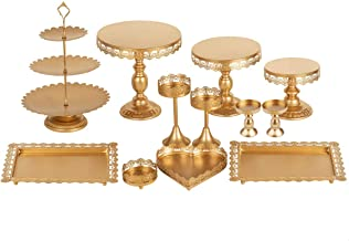 Set of 12 Pieces Golden Cake Stand and Pastry Trays Metal Cupcake Holder Fruits Dessert Display Plate for Baby Shower Wedd...