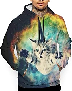 Go KJ Unisex Space Cat Hoodies Funny Pullover Hood Jackets Sweatshirt