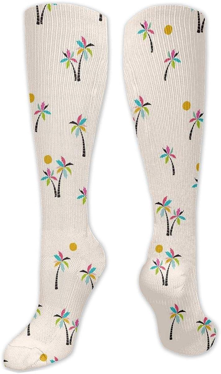 Palmtree Pattern Knee High Socks Leg Warmer Dresses Long Boot Stockings For Womens Cosplay Daily Wear