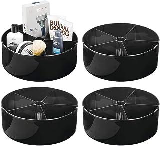 mDesign organiseur de cosmétiques Lazy Susan (lot de 4) – serviteur de douche rotatif à 360° – rangement de salle de bain ...