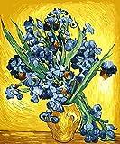 Kit de pintura de bricolaje / pintura por números / lienzo de lino preimpreso especialmente diseñado para que los principiantes y los niños pinten - Purple iris Animal