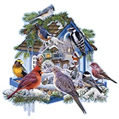 Winter Bird Feeder is a 750 Shaped piece jigsaw puzzle designed by Russel Cobane. Our Jigsaw Puzzles are made with recycled cardboard. Die-cut puzzle pieces are easy to handle - and no two are alike. Our 750 Shaped Piece Puzzles are exciting and chal...