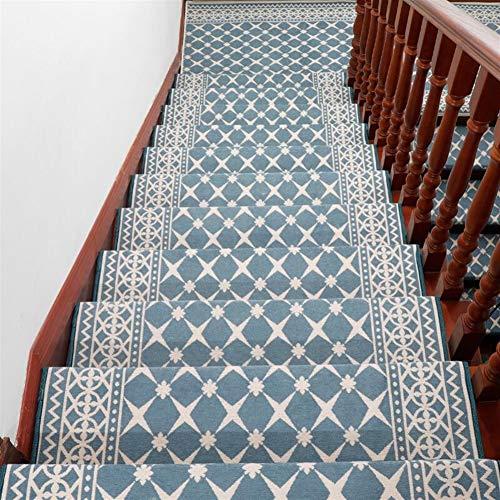 Ommda Stufenmatten Innen Rechteckig Set Selbstklebend 15 Stück Treppenstufen Matten Orientalischer Jacquard Anti Rutsch Waschbar Treppenschutz Blaues Plaid,30x85cm 15pc
