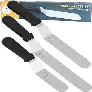 Chefarone Juego de cuchillos de Paleta Premium - Espátulas profesionales de acero inoxidable con ángulo de 3 piezas para una memorable decoración de pasteles
