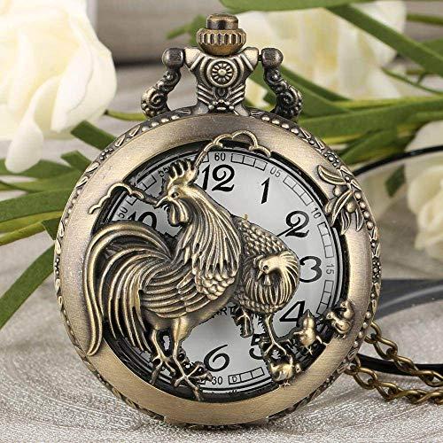 NOBRAND Reloj de Bolsillo, Reloj Retro Diseño de Gallo Hueco Estilo del Zodiaco Chino Reloj de Bolsillo de Cuarzo de Bronce Retro Colgante Hombre Mujer Regalo, China