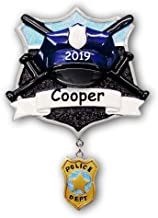 Personalized Police Officer Security Service Member Glittered Badge and Police Department Decal Hanging Christmas Ornament with Custom Number and Custom Name