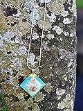 Collar de mujer hecho a mano, flor real, flor de diente de león, collar de resina, collar de plata, Regalos para ella, pieza única, joya hecha a mano, color verde azul amarillo claro
