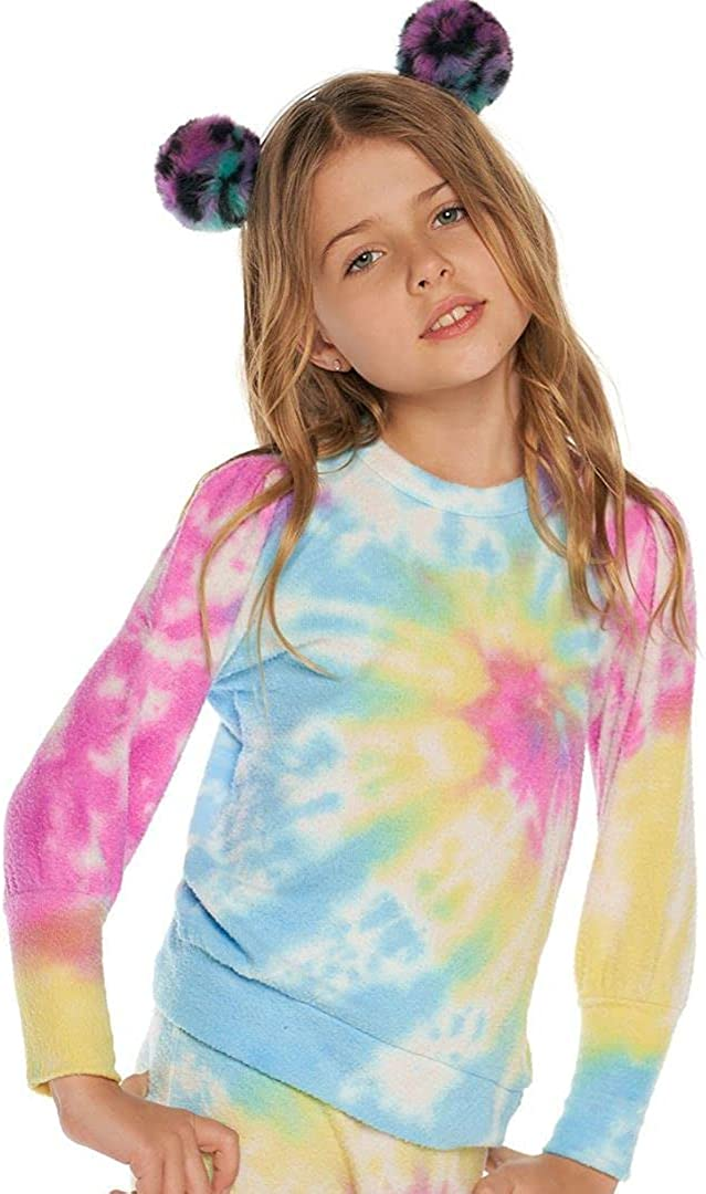 CHASER Toddler Girls Puff Sleeve Pullover - Party Tie Dye