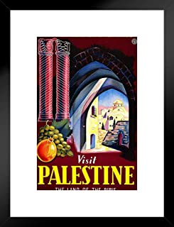 Poster Foundry Visit Palestine Land of The Bible Retro Travel Matted Framed Wall Art Print 20x26 inch