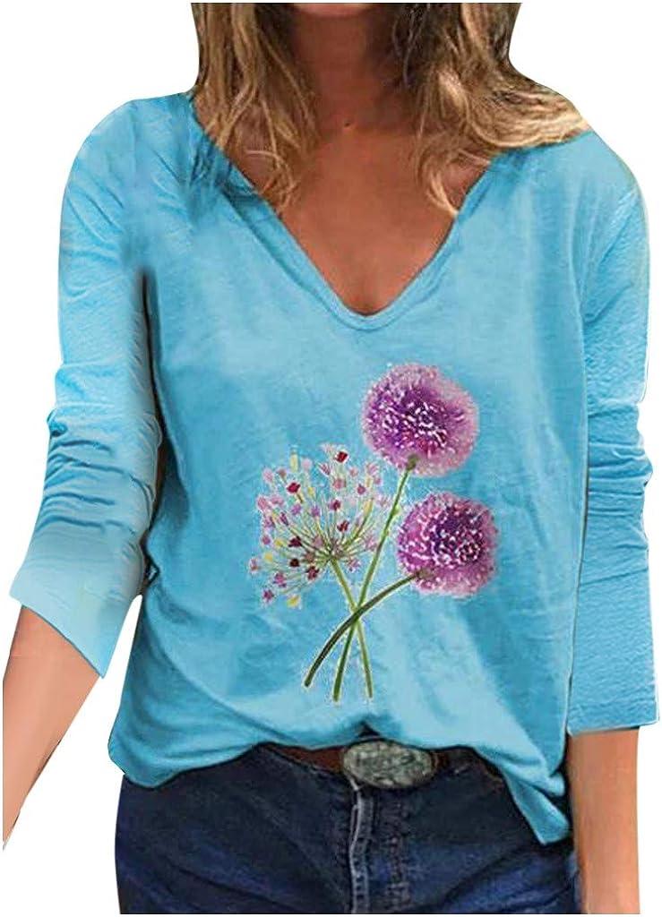 UK Women V Neck Long Sleeve Floral Baggy Tops Ladies Autumn Loose Blouse Shirt